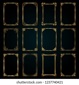 Decorative retro calligraphic frames in gold