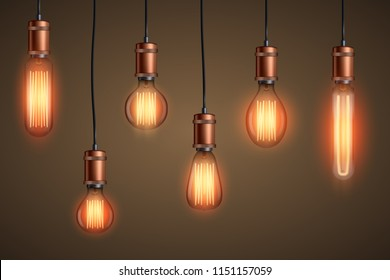 Decorative Retro design edison light bulb set. Lamps of different shapes. Vintage and antique style with copper. For loft and cafe. Vector Illustration