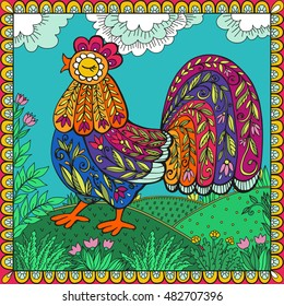 Decorative rooster painted by hand vector. Rooster filled with flowers.