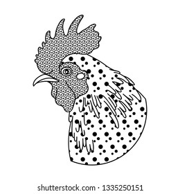 Decorative rooster. Vector zentangle design for coloring books, art therapy, antistress, greeting cards.