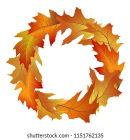 Decorative round frame from bright and colorful autumn leaves. Wreath of fallen oak tree leaves. Vector illustration
