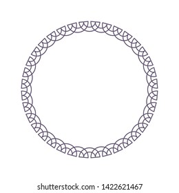 Decorative  round frame for design with a abstract  ornament. Circle frame. Elegant element for printing of cards, invitations, books, for textiles, engraving, forging. Vector.