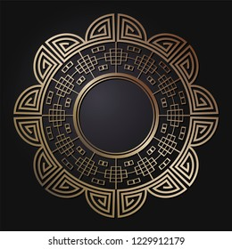 Decorative round frame for design with  chinese ornament. Circle frame. Template for printing cards, invitations, books, for textiles, engraving, wooden furniture, forging. Vector.