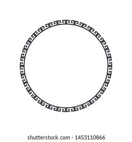 Decorative round frame design with   Chinese pattern. Circle frame. Template for printing cards, invitations, books, textiles, engraving, wooden furniture, forging. Vector.