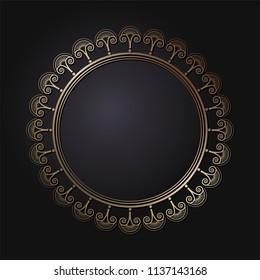 decorative line art frame design template のベクター画像素材