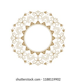 Decorative round frame for design with floral ornament. A template for printing postcards, invitations, books, for textiles, engraving, wooden furniture, forging. Vector.