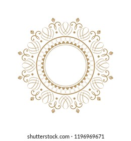 Decorative round frame for design with floral ornament. Circle frame. A template for printing postcards, invitations, books, for textiles, engraving, wooden furniture, forging. Vector.