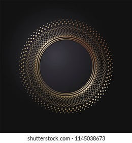 Decorative round frame for design with patterned ornament. A template for printing postcards, invitations, books, for textiles, engraving, wooden furniture, forging. Vector.
