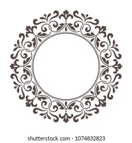 Decorative round frame for design template.