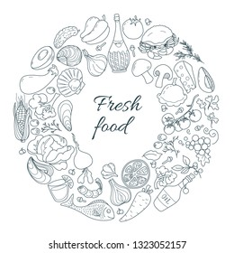 Decorative round frame of products: vegetables, fruits, wine, seafood with the inscription Fresh food. Vector