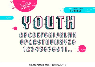 Decorative sans serif bulk font in the pop art style. Letters and numbers for logo and title design. Color print on white background