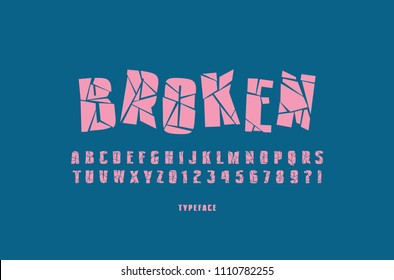 Decorative sans serif font with broken face. Letters and numbers for military, cinema, music logo and title design. Pink typeface on blue background