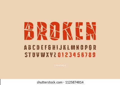 Decorative sans serif font with broken face. Letters and numbers for military, sport, retro logo and title design. Color typeface on brown background