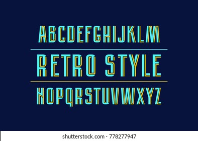 Decorative sans serif font with interweaving stripes. Letters for logo and title design. Bright print on dark background