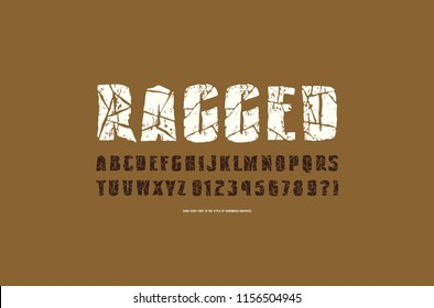 Decorative sans serif font with ragged face. Typeface in the style of handmade graphics. Letters and numbers with vintage texture for logo and emblem design