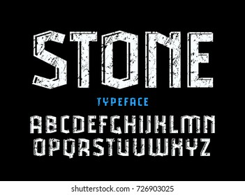 Decorative sanserif font with effect of volume and rough texture. Letters for logo and title design