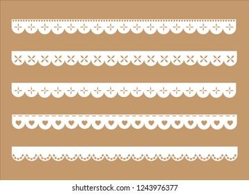 Decorative Scallop Borders Set. vintage fabric ribbons. lace