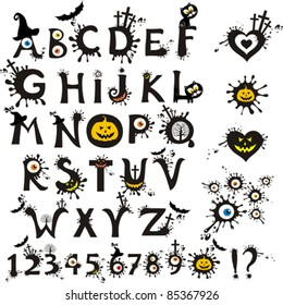 Decorative scary style alphabet, Halloween theme font. Vector Illustration