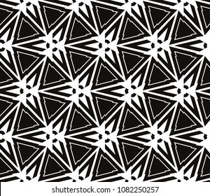 Decorative seamless black geometric pattern. Vector illustration.
