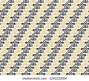 Decorative seamless black and golden diagonal stripes fleur de lis pattern. Fleur de lis seamless pattern. Beautiful fleur de lis flat vector decor.