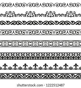Decorative seamless borders vintage design elements set