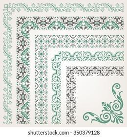 Decorative seamless islamic ornamental border with corner
