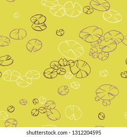 Decorative seamless lily pads. Ornamental line art hand drawing. Vector pattern on green background.