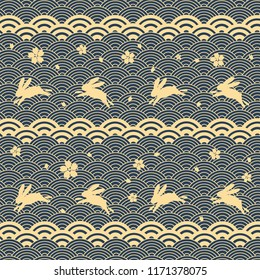 Decorative seamless pattern with asian elements. Chinese, japanese elements. Stylish trendy fabric.Vector Illustration.