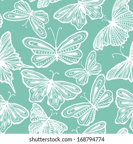 Decorative seamless pattern with butterflies, vector