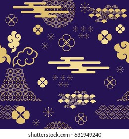 Decorative seamless  pattern with clouds,flowers,japanese elements and bamboo tree. Vector seamless asian texture.For printing on packaging, textiles, paper and other materials.