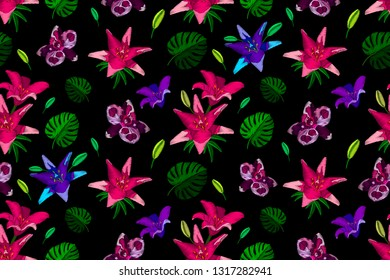 Decorative seamless pattern embroidery flowers stylized texture of embroidery. Vector fashion exotic pattern for printing on textile, clothing, t-shirts, cotton, silk, shawl.