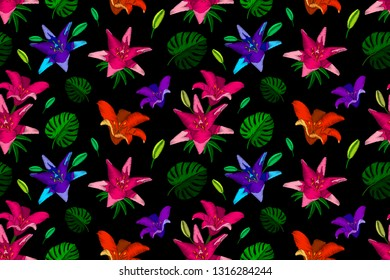 Decorative seamless pattern with embroidery lilys stylized texture of embroidery. Vector fashion exotic pattern for printing on textile, clothing, t-shirts, cotton, silk, shawl.