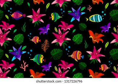 Decorative seamless pattern with embroidery lilys and fish stylized texture of embroidery. Vector fashion exotic pattern for printing on textile, clothing, t-shirts, cotton, silk, shawl.