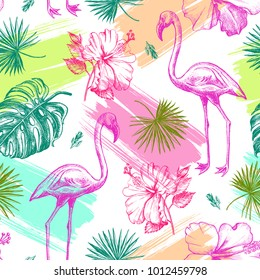Decorative seamless pattern with ink hand-drawn Tropical hibiscus flowers, leaves and flamingo bird. Vector illustration.