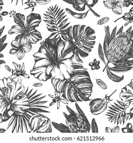 Decorative seamless pattern with ink hand-drawn Tropical flowers and leaves. Vector illustration.