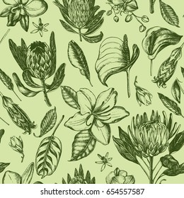 Decorative seamless pattern with ink hand-drawn Tropical exotic flowers and leaves. Vector illustration.