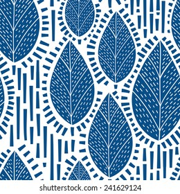 Decorative seamless pattern with leafs and trees. Can be used for interior print and wallpaper, textile design, wrapping paper. Vector illustration