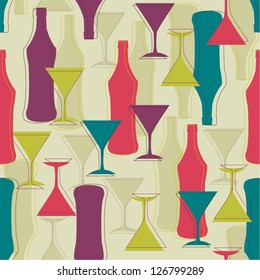Decorative seamless pattern with martini bottles and glasses