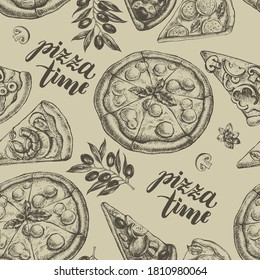 Decorative seamless pattern with round pizza and pieces of pizza. Italian cuisine. Ink hand drawn Vector illustration. Composition of food elements for menu design.