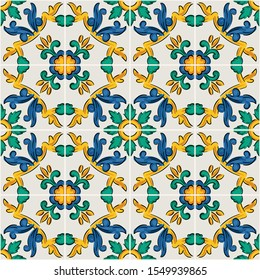 Decorative seamless pattern with sicilian ornament. Colorful ceramic tiles in floral traditional style of Palermo. Vector endless texture for digital paper, fabric, backdrop or wrapping