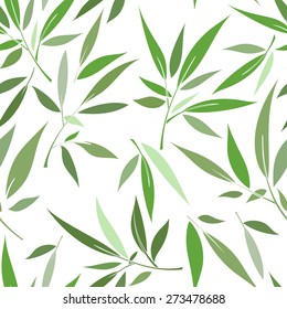 Decorative seamless pattern with stylized green leaves