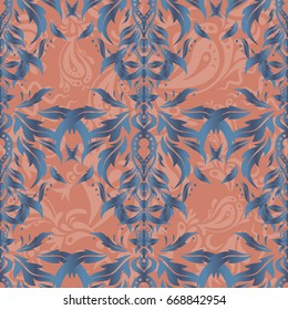 Decorative seamless pattern. Vector ornate elements in pink and blue colors for your design. Ornamental pattern for invitations, greeting cards, wrapping. Traditional abstract decor.
