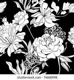 Black White Floral Wallpaper Images Stock Photos Vectors Shutterstock