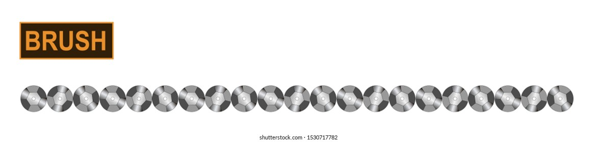 Decorative sequins brush for fashion and digital illustration. Customizable and colorizable metallic trim.