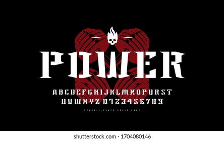 Decorative stencil–plate serif font. Letters and numbers for sport logo and label design. Color print on black background