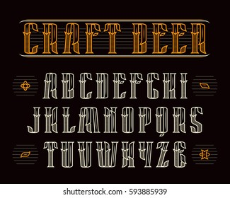 Decorative serif font in retro style. Design for the labels and logos. Color print on black background
