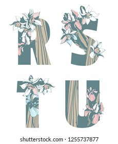 Decorative set floral pattern letter alphabet abc font. Lettering fashion hand drawn spring wild flowers ornament iris narcissus. Vector grunge pink and blue illustration t-shirt print. R, S, T, U