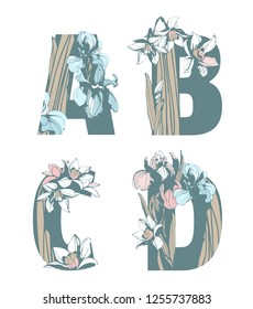 Decorative set floral pattern letter alphabet abc font. Lettering fashion hand drawn spring wild flowers ornament iris narcissus. Vector grunge pink and blue illustration t-shirt print. A, B, C, D