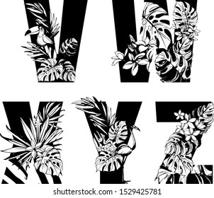Decorative set floral tropical pattern letter alphabet abc font. Lettering hand drawn beach palm leaves birds flowers ornament. Vector grunge black white illustration t-shirt print. V, w, x, y, z