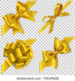 Decorative set of golden bow with diagonally ribbon for corner decor. New year holiday decorations. Vector realistic yellow bow